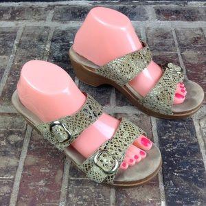 Dansko Sophie Gold Beige Snake Print Clog Sandals